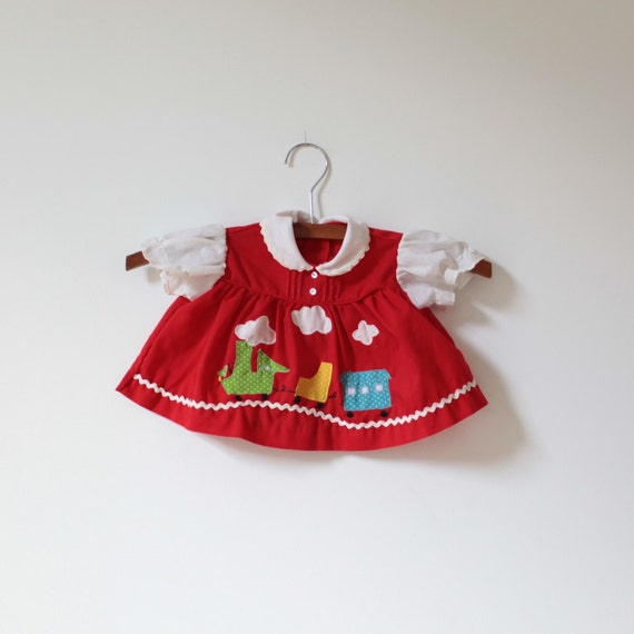 CLEARANCE - Vintage Red Train Dress Top (3 months)