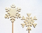 Gold Snowflake Cupcake Toppers, Party Decor, Holiday, Winter, Christmas, Shimmer, Pearlized - CatchSomeRaes