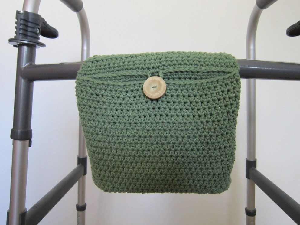 Crocheted Walker Bag Green Small Tote Caddy Organizer Mobility