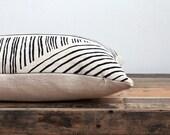 Karnataka hand printed lumbar or square pillow cover in black on natural ecru organic hemp