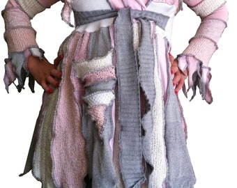 Grey silver and Pink Tattered Pixie jester style coat  by Hope Floats Upcycled