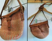 70s SISAL AND LEATHER Woven Hippie Basket Market Purse, Small