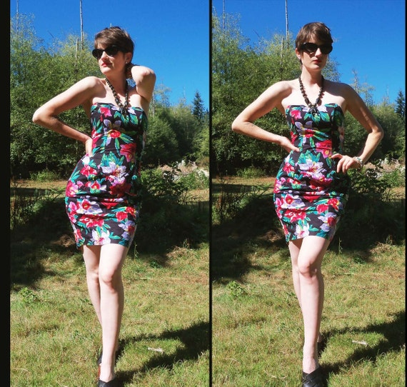 80s TROPICAL FLORAL Strapless Wiggle Party Dress, xs Small