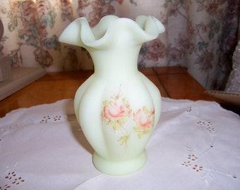 Hand Painted Fenton- Custard Satin- Mellon Vase with Ruffle