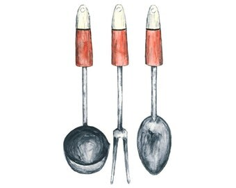 kitchen utensils watercolor giclee print - 8x10 // red kitchen art // wall decor