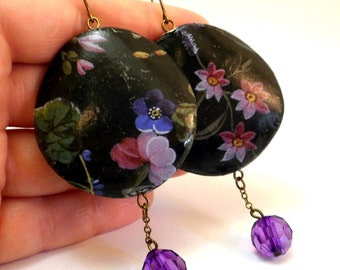 Flowers Black Paper Decoupage Earrings decoupage jewelry - I'm out of town. Parcels will be shipped from 9-5-2016