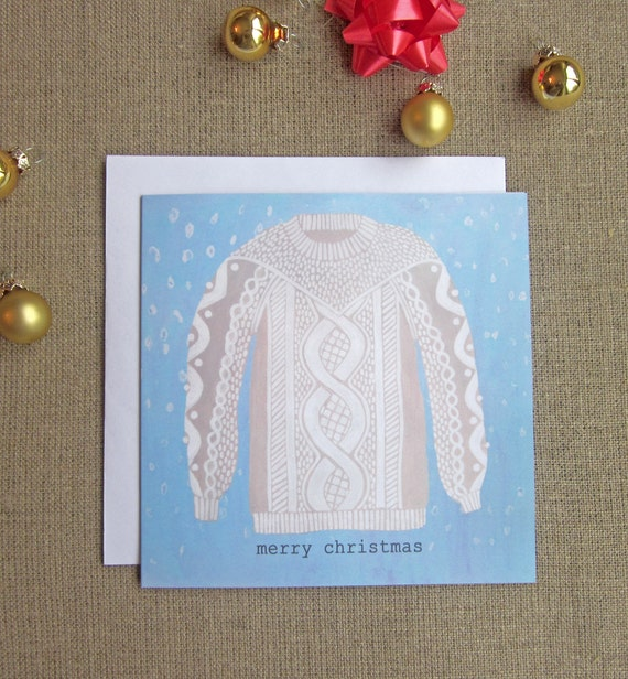 Snuggly Christmas Jumper card with envelope
