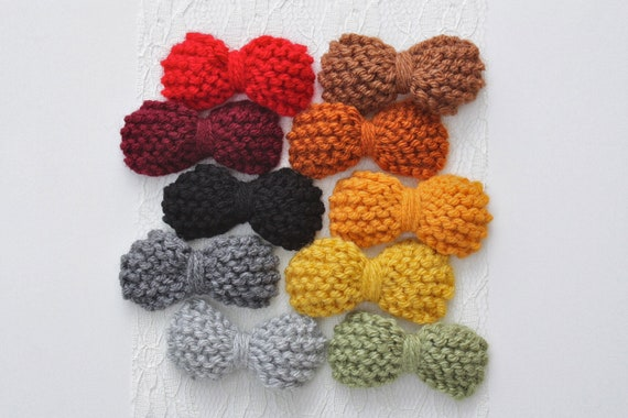 knitted hair bow clip set - fall colors promotion - choose your colors - you pick 5