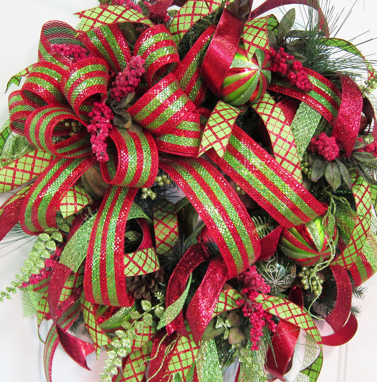 Christmas holiday door wreath large bow and ribbons