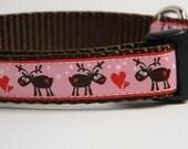 Christmas Dog Collar- Pink Reindeer