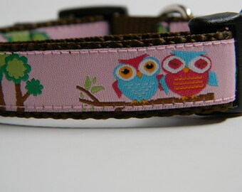 Owl Dog Collar- Owl Friends Pink