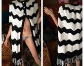 OOAK handmade black and white poncho shawl outerwear coat w/ fringe knit crocheted