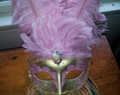 Kirk's Folly Fancy Feathered Pink And Gold Masquerade Mardi Gras Ball Halloween Mask