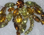 Vintage Multi Color Topaz  Marquise Cut Rhinestone Abstract Flower Design Brooch
