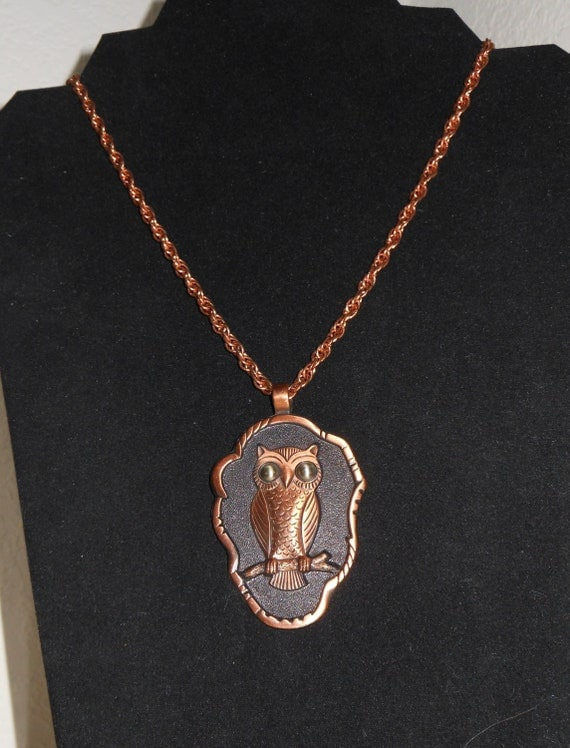 Vintage Copper Owl Pendant and Necklace