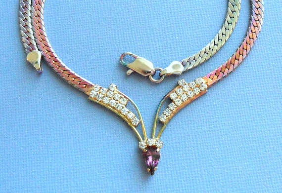 1980s Rhinestone Necklace with Iridescent Flat Chain - Amethyst Purple Pear Center Stone - Clear Crystal Rounds