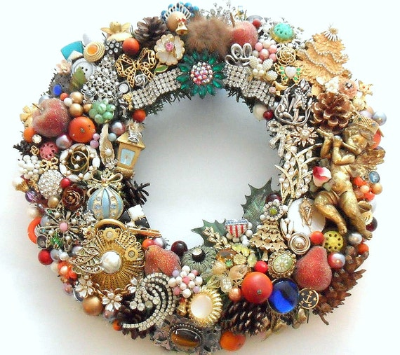 Christmas Holiday Wreath Loaded with Vintage Jewelry, Rhinestones, Buttons