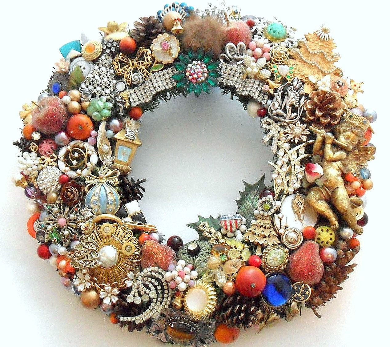 Christmas Holiday Wreath Loaded With Vintage By