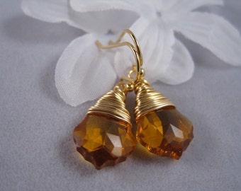 Topaz, November Birthday, Gold Earrings, Wire wrapped, Swarovski Baroque Topaz  Crystal Earrings, Holiday Gift, Brithdays