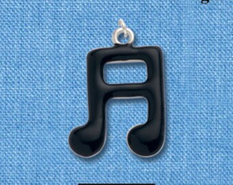 1 Silver Plated Charm Pendant, MUSIC NOTES with Black Enamel  che0261