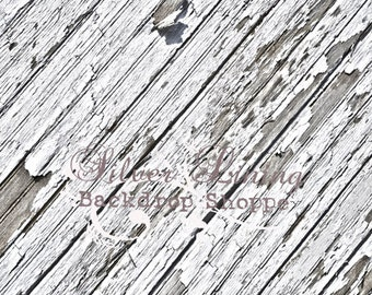 NEW ITEM 5ft x 7ft Vinyl Photography Backdrop / Angled White Chippy Wood