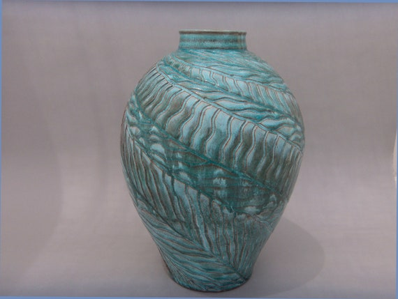 Large Hand Carved Turquoise and Terracotta Vase