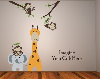 Big Sale Jungle friends Giraffe, two Monkeys in branches and Elephant with Monkey on head  Baby Nursery Wall Decals