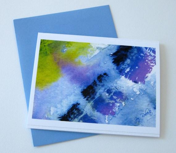 Blue Abstract Watercolor Notecard /  Handmade Card / Printed Art Card / Blank / Any Occasion / No.16