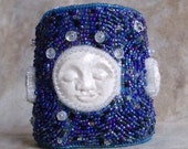 Phases of the Moon - bead embroidered bracelet - EBWC - EsmerldasStudio