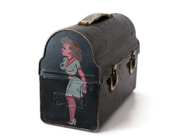 Pin Up Girl Lunchbox, Vintage Metal Industrial Decor