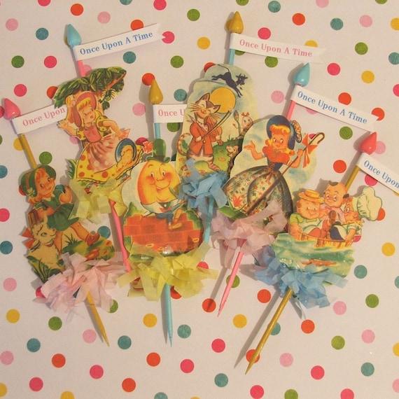 Vintage Nursery Cupcake Toppers/Nursery Rhymes