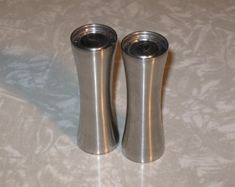 Mid Century- Foley- Salt and Pepper Shakers- Stainless Steel