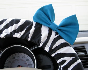 Steering Wheel Cover Bow, Zebra Steering Wheel Cover with Teal Bow BF11233