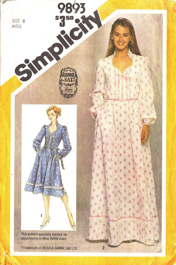 VINTAGE 1981 Misses or Petite Gunne Sax Pattern Simplicity 9893  Little House on the Prairie Dress 2 Lengths
