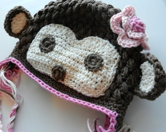 Monkey Hat Sized 1-3T