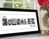 Personalized Christmas Gift - Framed Alphabet Photography Art  - 10x20 Modern Frame