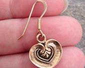 Antique Look Brass Pair Dangle Earrings HEART