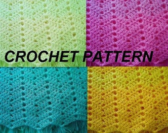 Instant Download PDF Crochet Pattern - Ripple Stitch Baby Blanket -   baby accessories, afghan, SPP64