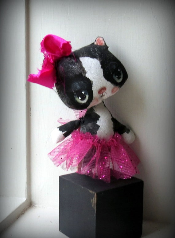 Sweet Kitten cloth doll in pink sparkly tutu