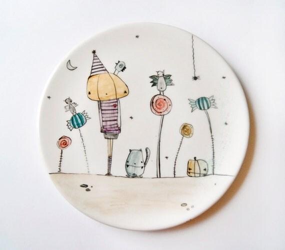 Halloween Plate - Dish for Halloween dish, pumpkin, candys, bats, Ghosts. Halloween dish