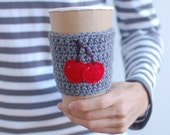 Coffee Cup Cozy with Cherries, by The Cozy Project, Reusable Coffee Sleeve