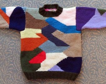 Patchwork Sweater - Child Size 10 - Hand Knit Intarsia Original Design Technique - Colorful Jumper Sweater - Back to School - Item 3013