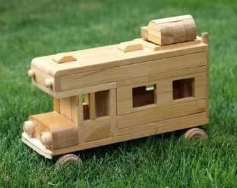 Eco-friendly Wooden Children's Toy Car Camper Reclaimed Wood Organic Natural Unpainted Metal-free Preschool Montessori