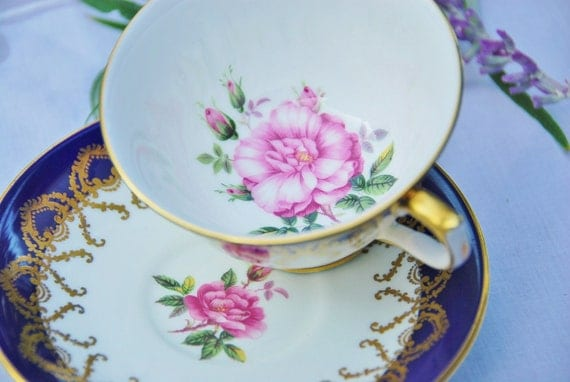Beautiful Vintage Aynsley Tea Cup and Saucer, Cobalt Blue, Pink Rose, Glt Scroll,Footed, England , c. 1960