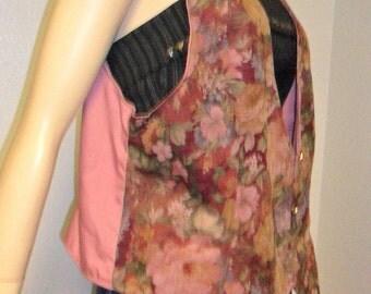Vintage Lovely Floral Print Mauve Vest - Sz M-L