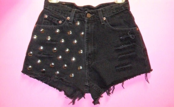 Levis High Waisted  Black  Denim Shorts - Studded--- Waist 27  inches---------- Ready To Ship