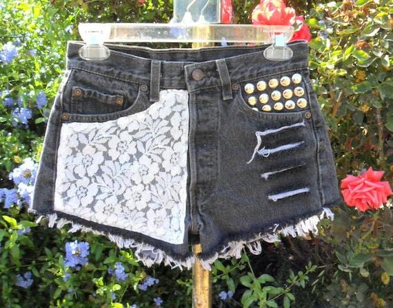 Vintage Levis 501 Black denim shorts -----Lace & Studs--Waist   27 inches