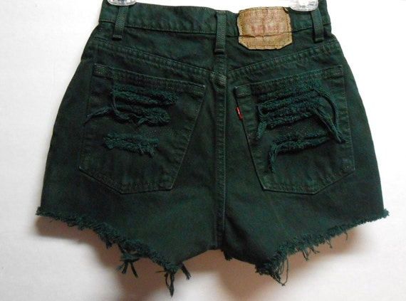 Vintage Dark Green Levis High Waisted  Denim Shorts -Distressed-- -Waist  26   inches ----Ready to Ship