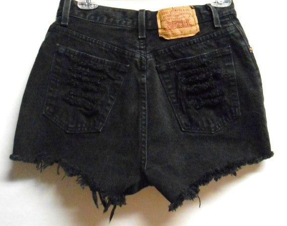 Vintage Levis  High Waisted  Denim Shorts -Distressed-- -Waist  27.5   inches----Ready to ship