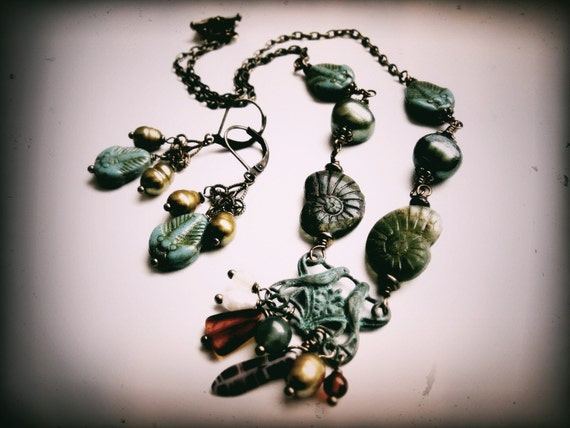 The Fossil Collector Set. Steampunk Naturalist Necklace and Earrings with Glass Fossils and Freshwater Pearls